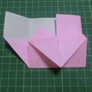 ハート付き手紙の折り方・・・引き出したところです