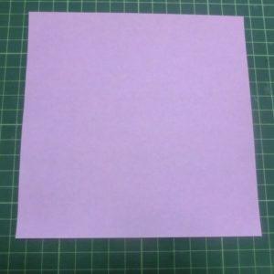 ハート付き手紙折り方・・・ピンクの折り紙を用意しました