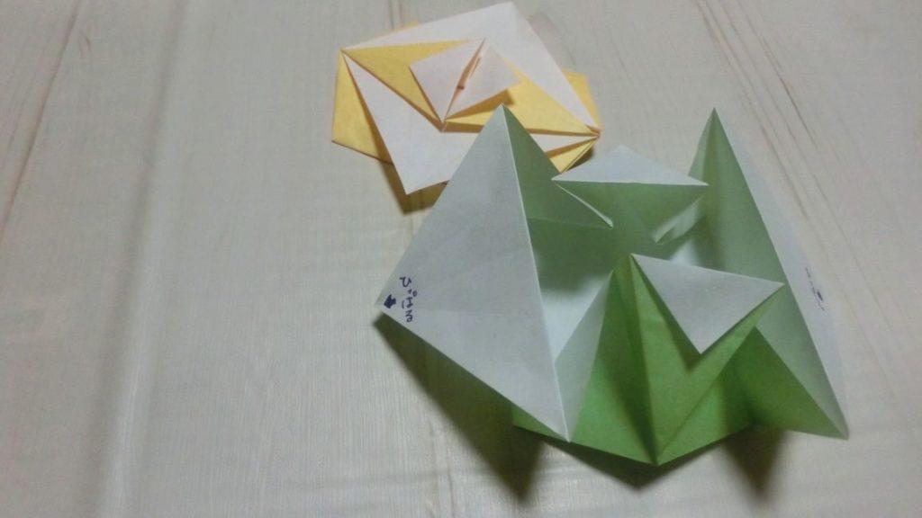 引っ張るタイプの折り紙手紙です。引っ張るとふわっと開きます。