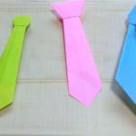 3種類の折り紙ネクタイが並んでいます
