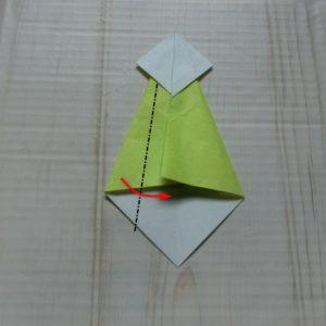 ネクタイ折り方・・・反対側も同じように斜めに折りました