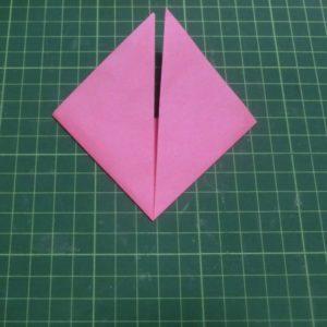 ハートの折り方説明・・・折り上げた状態です