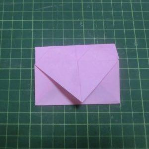 ハート付きのお手紙がピンクの折り紙で完成しました