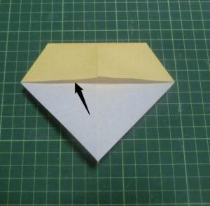 折り方手順・・・裏返して袋の部分を開きます