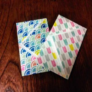 シンプルな折り方で作った千代紙ポチ袋が二つあります