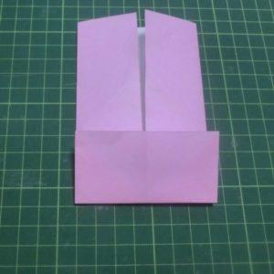 ハート付き手紙の折り方・・・下から1/4を折り上げました