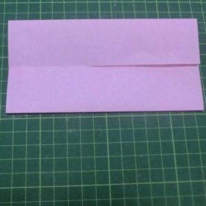 ハート付き手紙の折り方・・・真ん中に合わせて上下を折りました