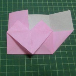 ハート付き手紙の折り方・・・さしこむ途中の画像です