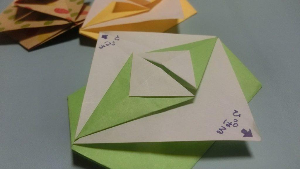 引っ張るタイプの折り紙手紙です。引っ張る部分の画像です。