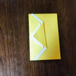 アレンジポチ袋の折り方・・・三角を重ねて折ります