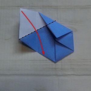 六角形の折り方・・・いったん開いて黒色点線で折ります
